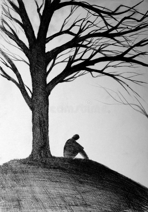 how to draw a person sitting under a tree