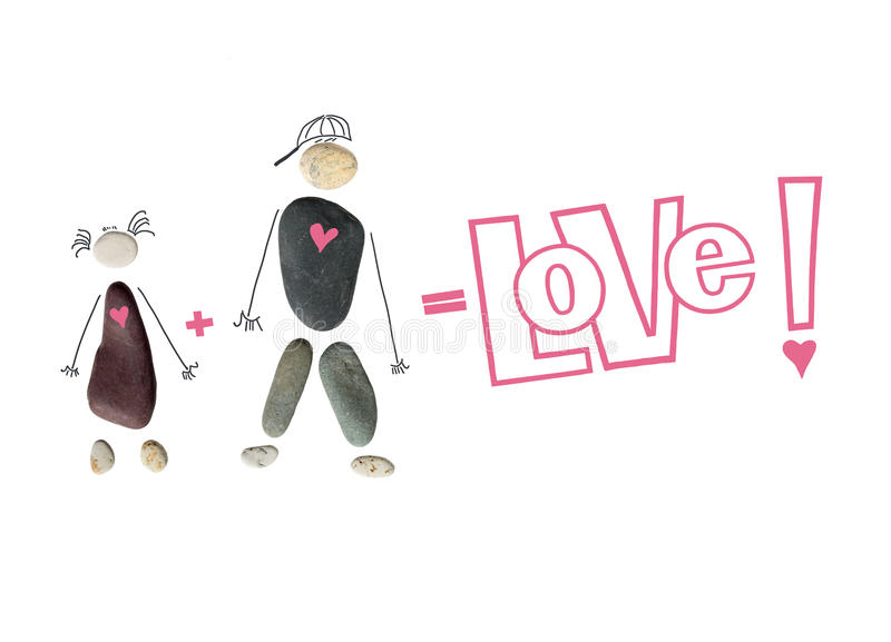 Silhouette of a man and woman, a couple from stones. The inscription `Love!`, sign plus and equal. Conceptual picture of love and. Feelings between people stock illustration