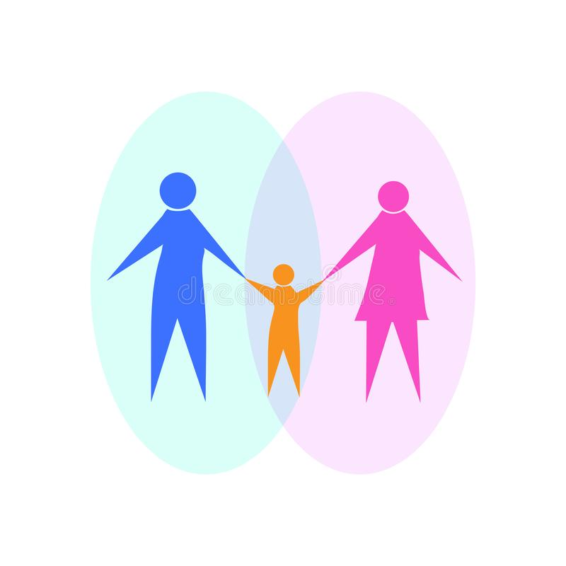 Silhouette of a man and a woman holding a child`s hands. Symbol of family and family values. Flat design royalty free illustration