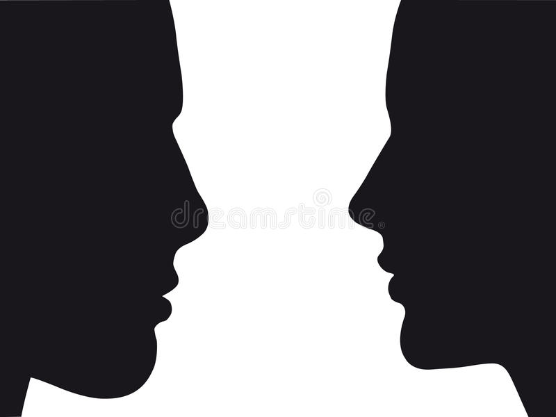 Silhouette of man and woman   Vector.eps 8 royalty free stock images