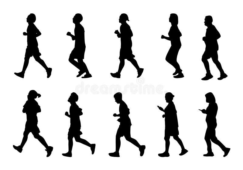 Silhouette man and women running, Black people run on white background, Isolate marathon. Silhouette man and women running, Black people run on white background vector illustration