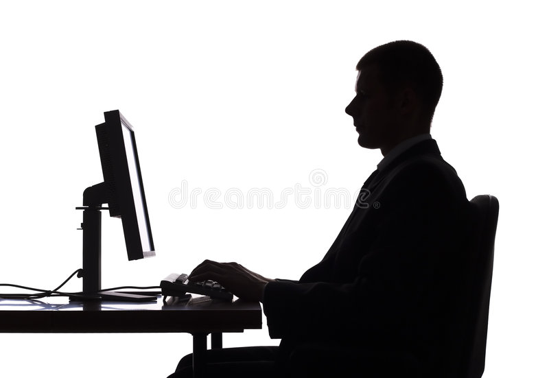 Silhouette of man working computer royalty free stock photos