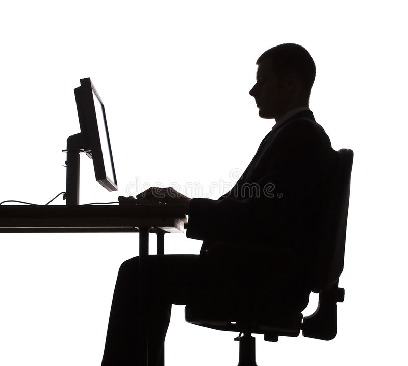 Download Silhouette Of Man Working Computer Stock Photo - Image: 1245660