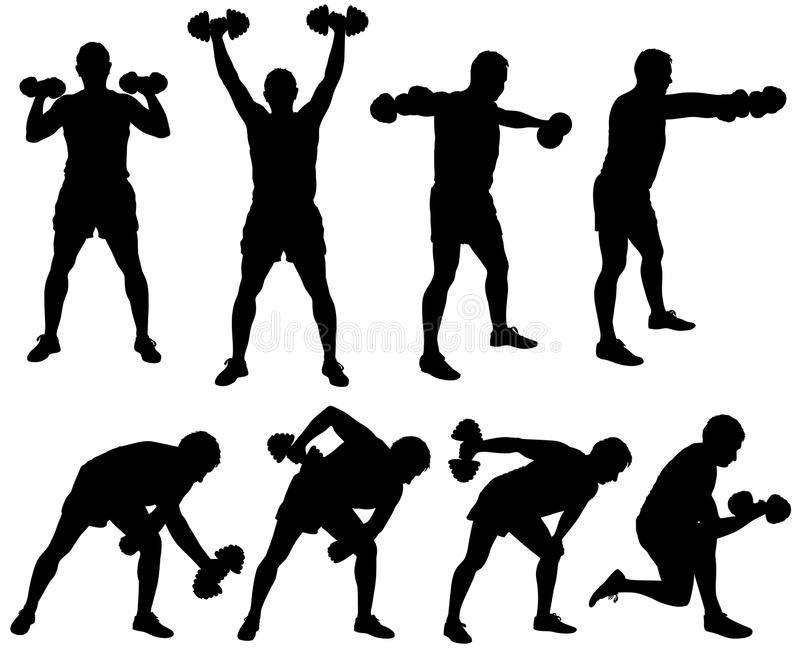 Silhouette of man working out with dumbbells. Icons of boy doing fitness exercises with weights for muscles of arms stock illustration