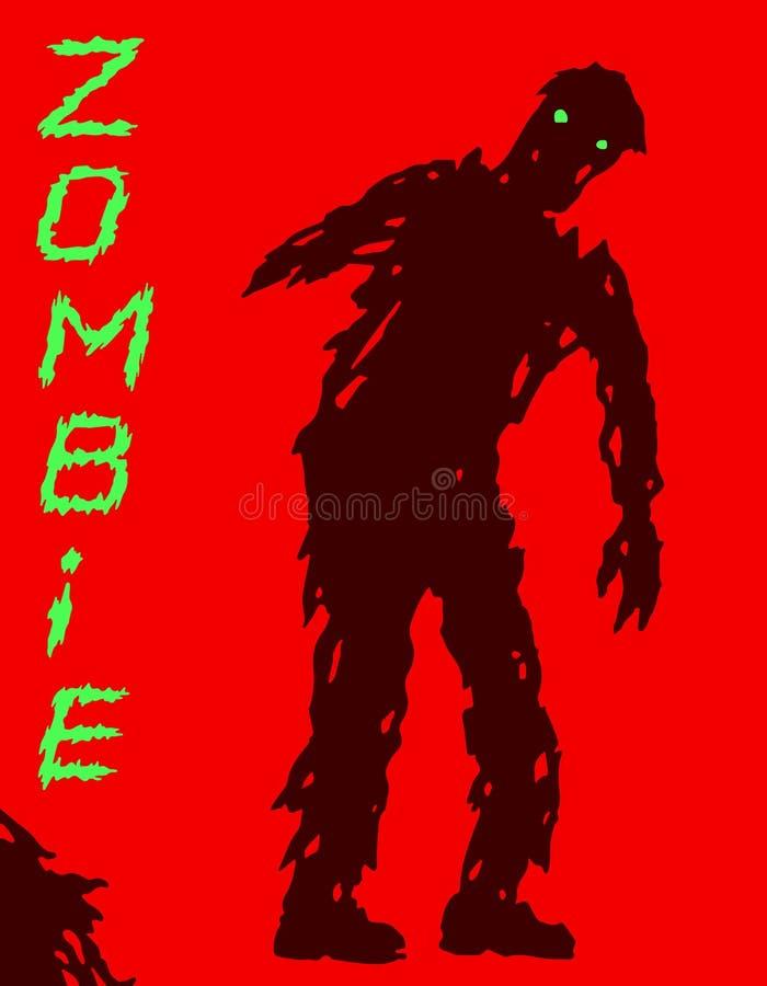 Silhouette manchot de zombi dans des vêtements perméables Illustration de vecteur illustration libre de droits