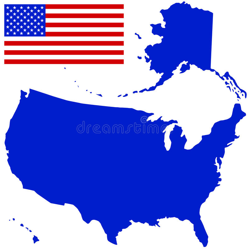 Silhouette map and flag of the USA royalty free illustration