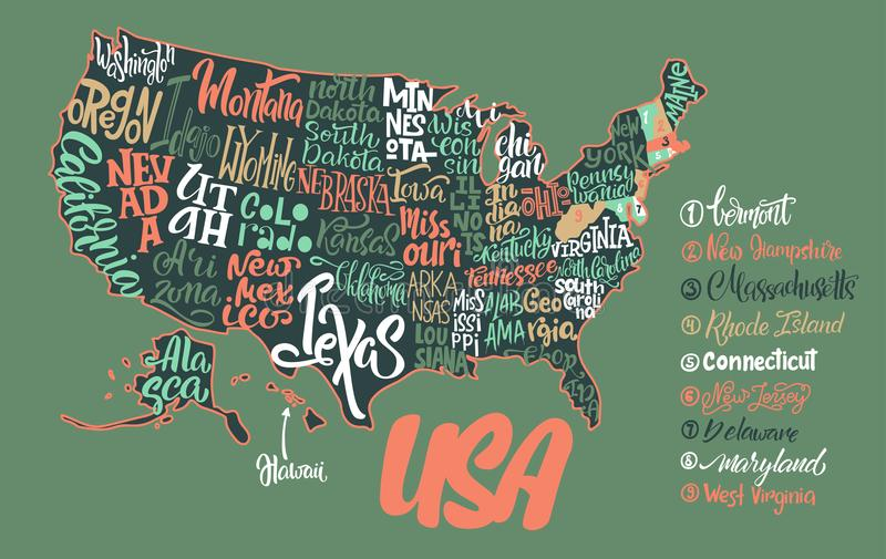 Silhouette Of The Map Of USA With Handwritten Names Of States