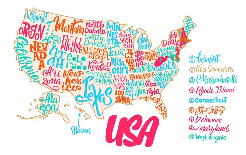download silhouette of the map of usa with hand written names of states stock