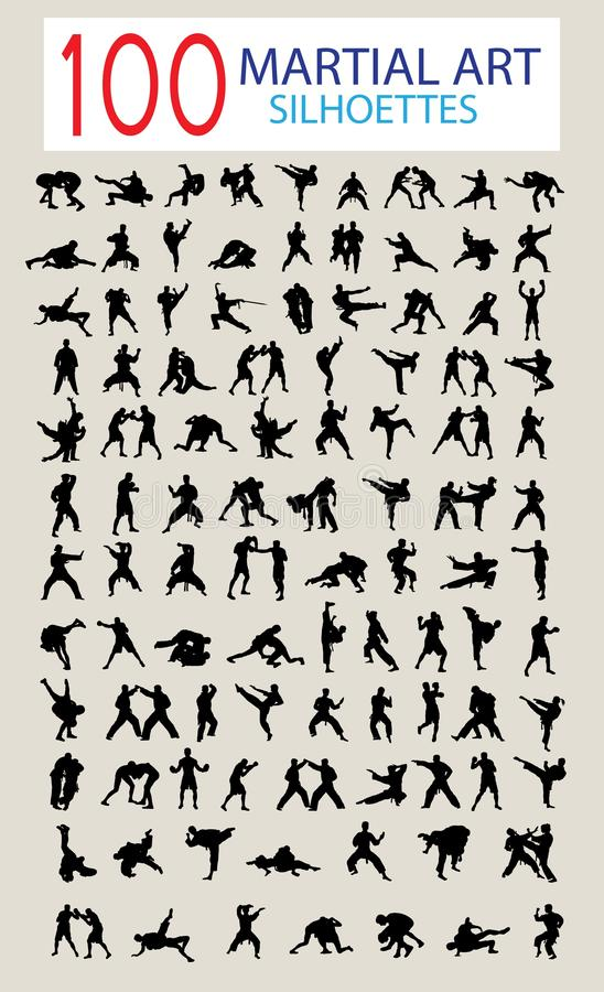 100 Silhouette of Martial Arts stock illustration