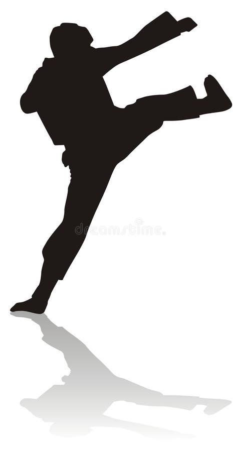 silhouette martiale d'arts illustration libre de droits
