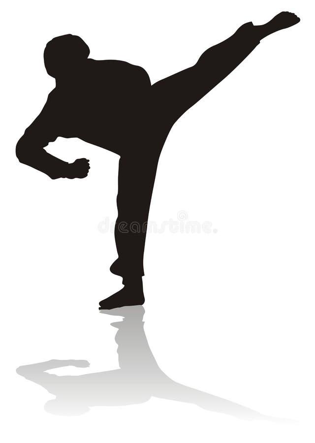 silhouette martiale d'arts illustration de vecteur
