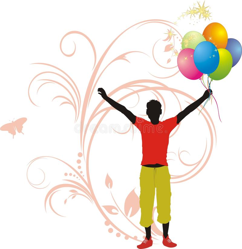 Silhouette masculine avec les ballons colorés illustration de vecteur