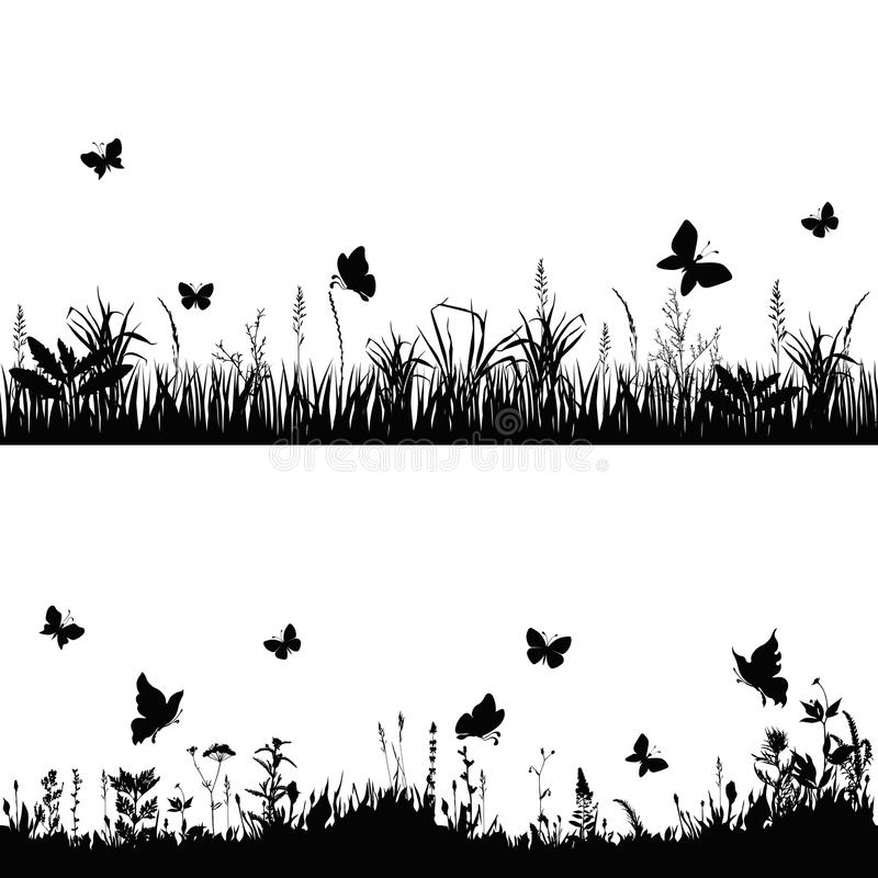 Silhouette meadows. Silhouettes grass and twigs of plants with butterflies. vector illustration vector illustration