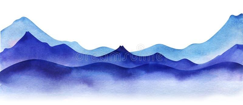 Silhouette med vattenfärgsberg Ljus, violett och ljusblå bergsområden i lager Orsaksgränselement för arkivbilder