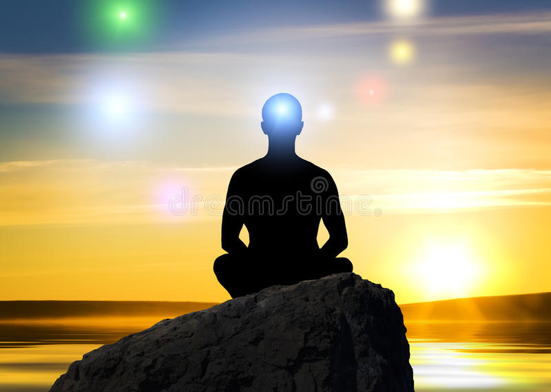 Silhouette of the meditating person vector illustration