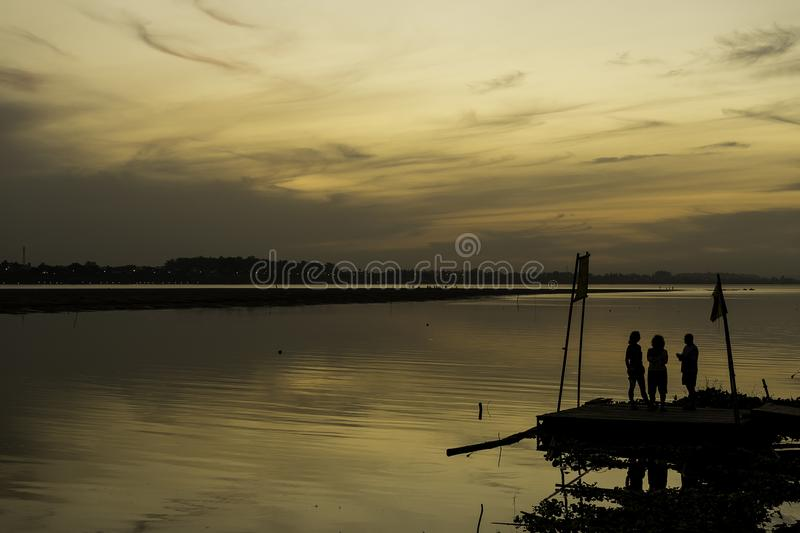 Silhouette in Mekong river royalty free stock photo