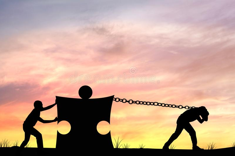 Silhouette of men helping push and pull puzzle, concept as teamwork and team. stock photo