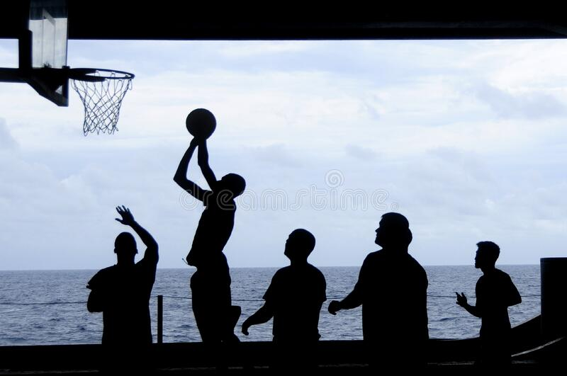 Silhouette Of Men Playing Basketball Free Public Domain Cc0 Image