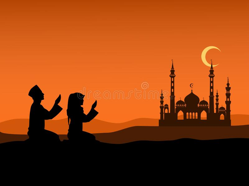 Silhouette of Men and women of Islam sit on the hill to pray at sunset. With Islamic churches and mountains in the background stock image