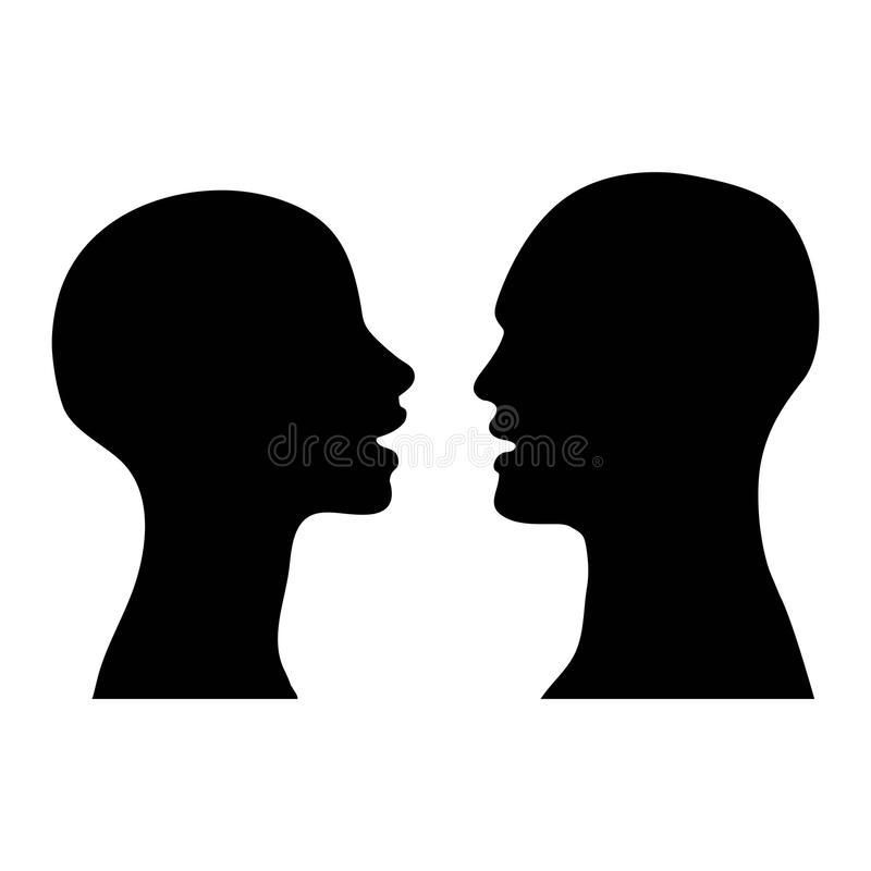 Silhouette men women talking stock photo