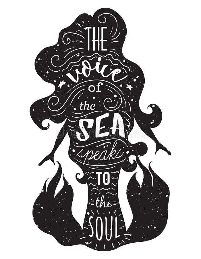 Silhouette of mermaid with inspirational quote. royalty free illustration