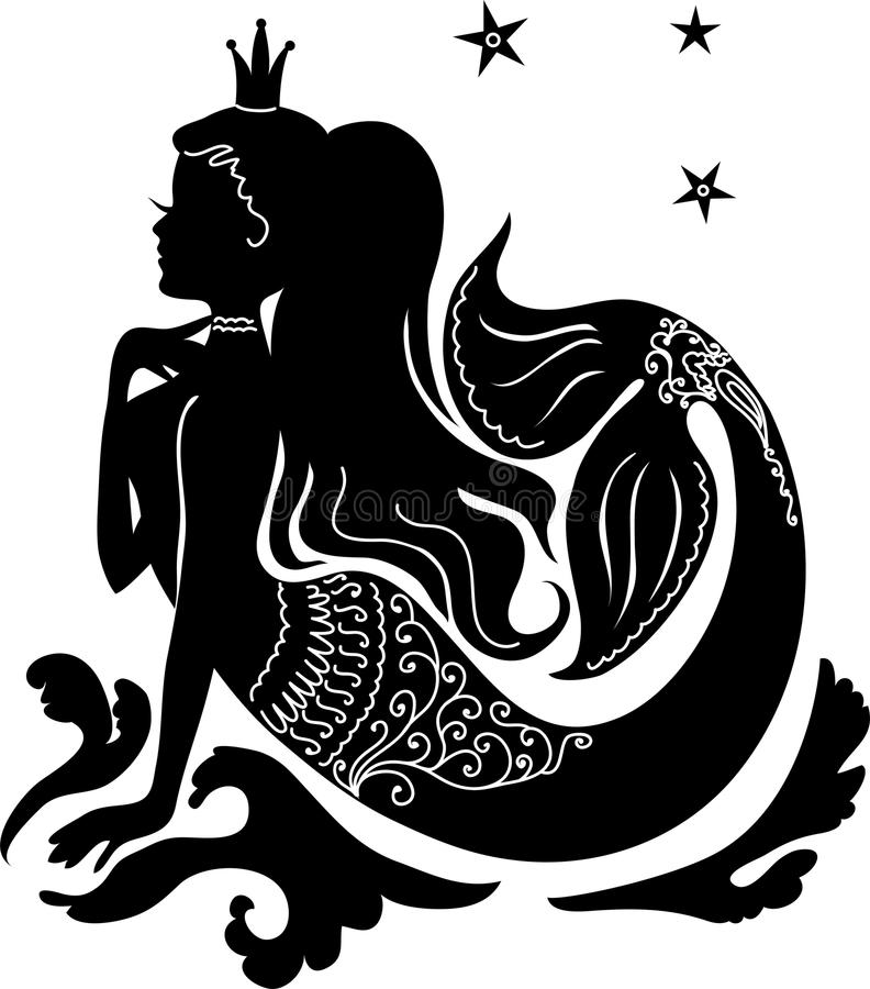 Silhouette mermaid sitting on wave. Silhouette mermaid sitting on the waves. Isolated figure of girl from fairytale vector illustration
