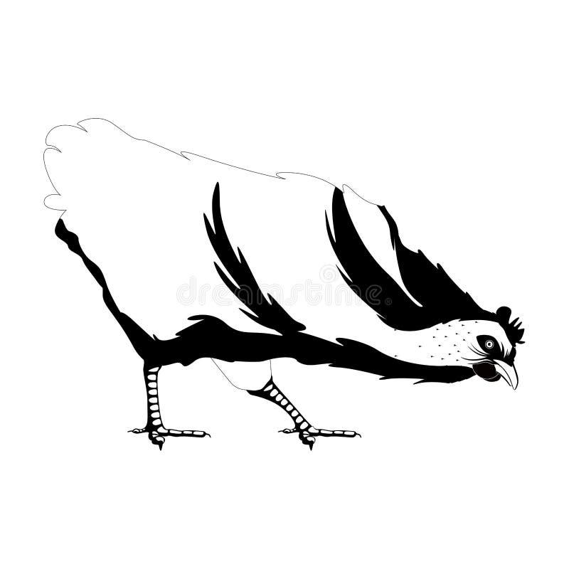 Silhouette mignonne d'isolement de poule illustration stock