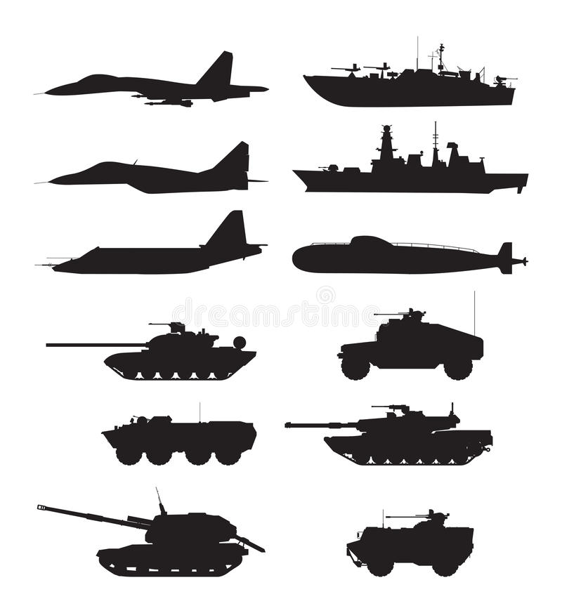 Silhouette of military machines support. Aircraft forces. Army vehicles and warships vector illustration