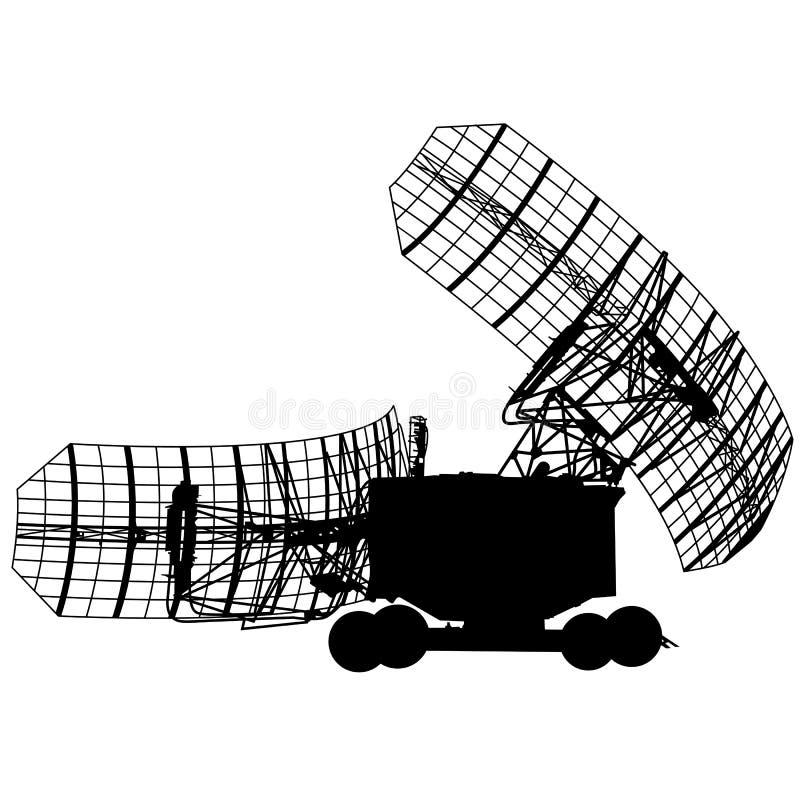 Silhouette military radar dish. Vector illustration. royalty free illustration