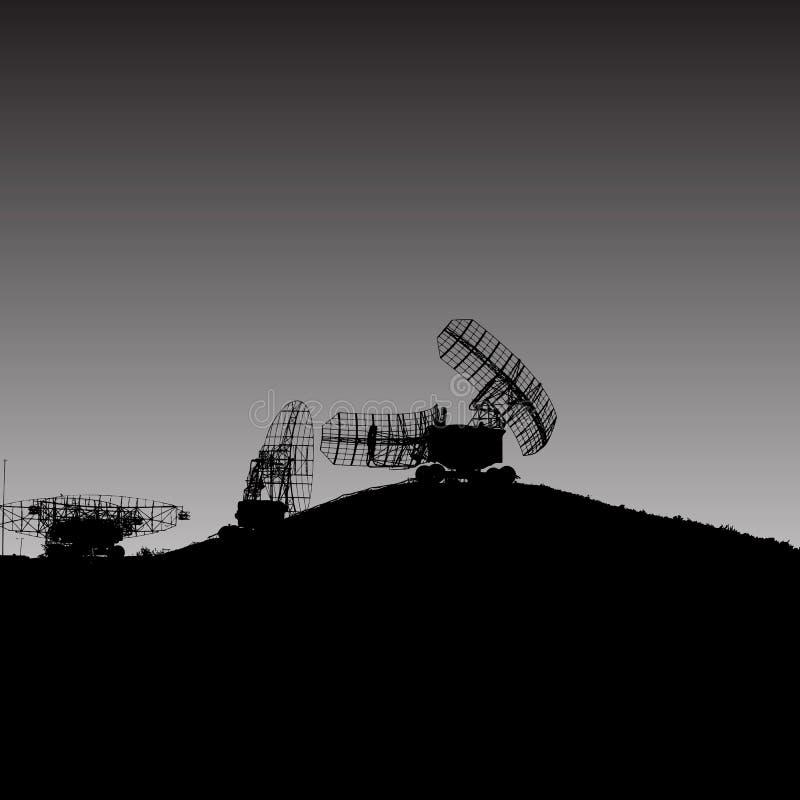 Silhouette military radar dish. Vector illustration. stock illustration