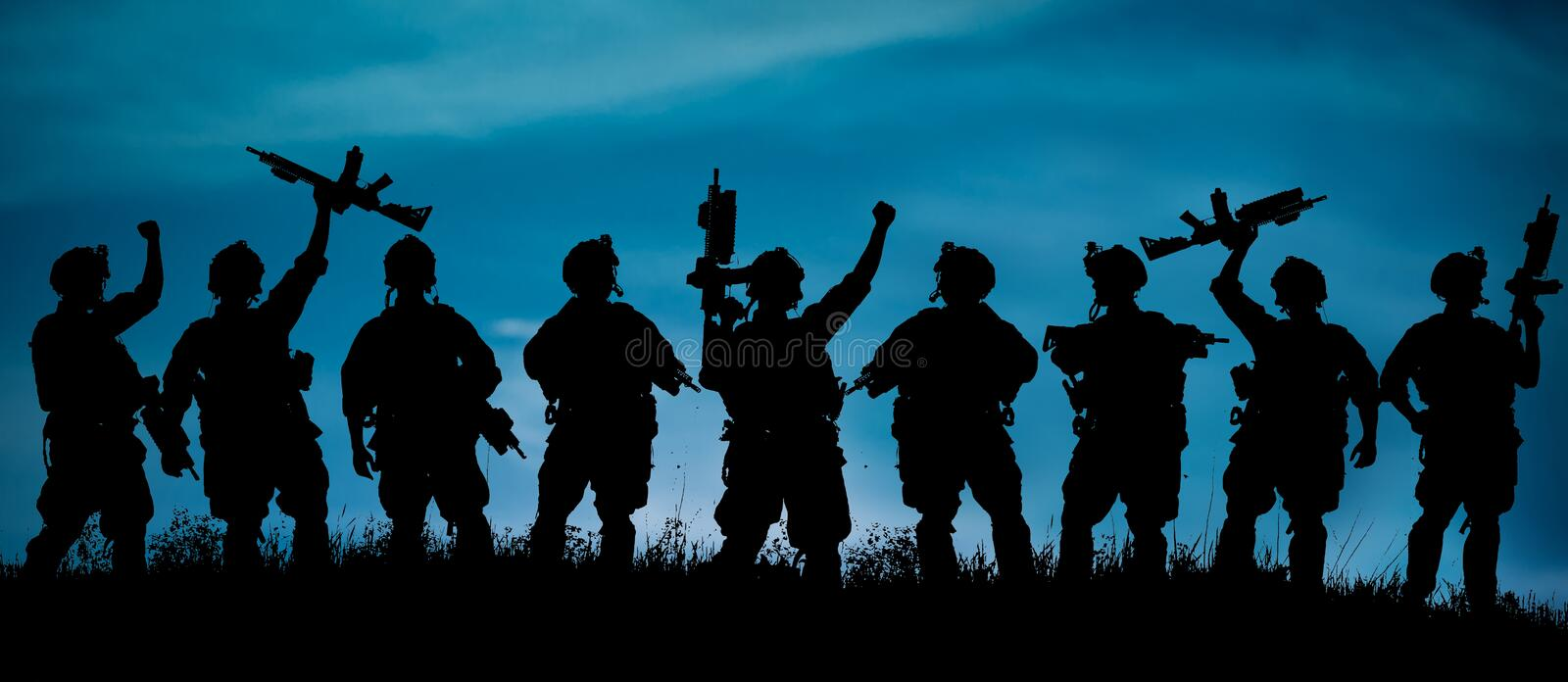 Silhouette of military soldiers team or officer with weapons at royalty free illustration