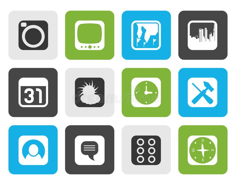 Silhouette Mobile Phone and Computer icon. Vector Icon Set vector illustration