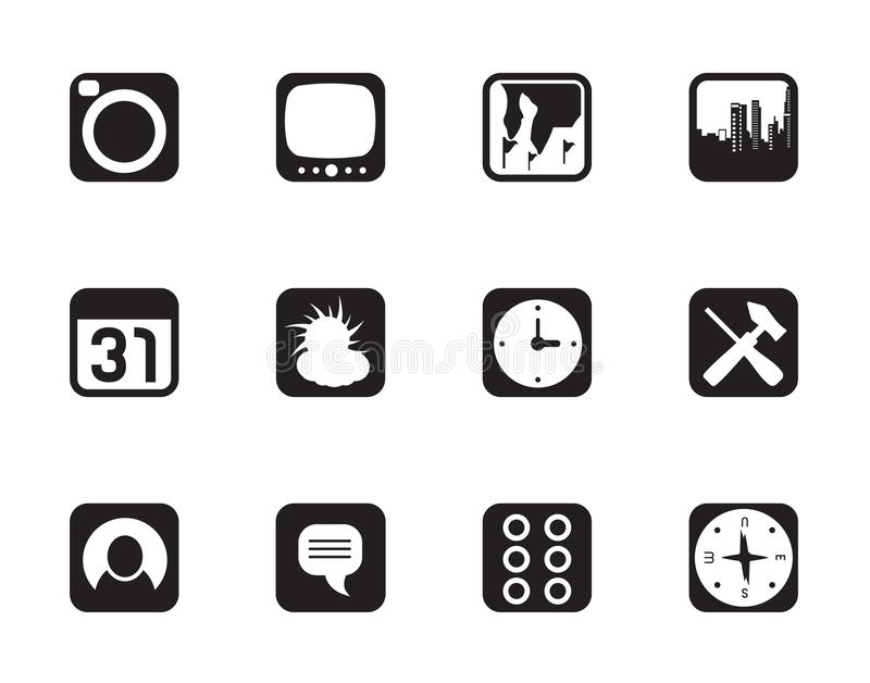 Silhouette Mobile Phone and Computer icon. Vector Icon Set stock illustration