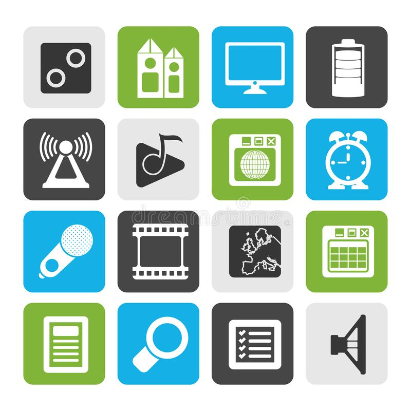 Silhouette Mobile phone performance, internet and office icons. Vector icon set royalty free illustration