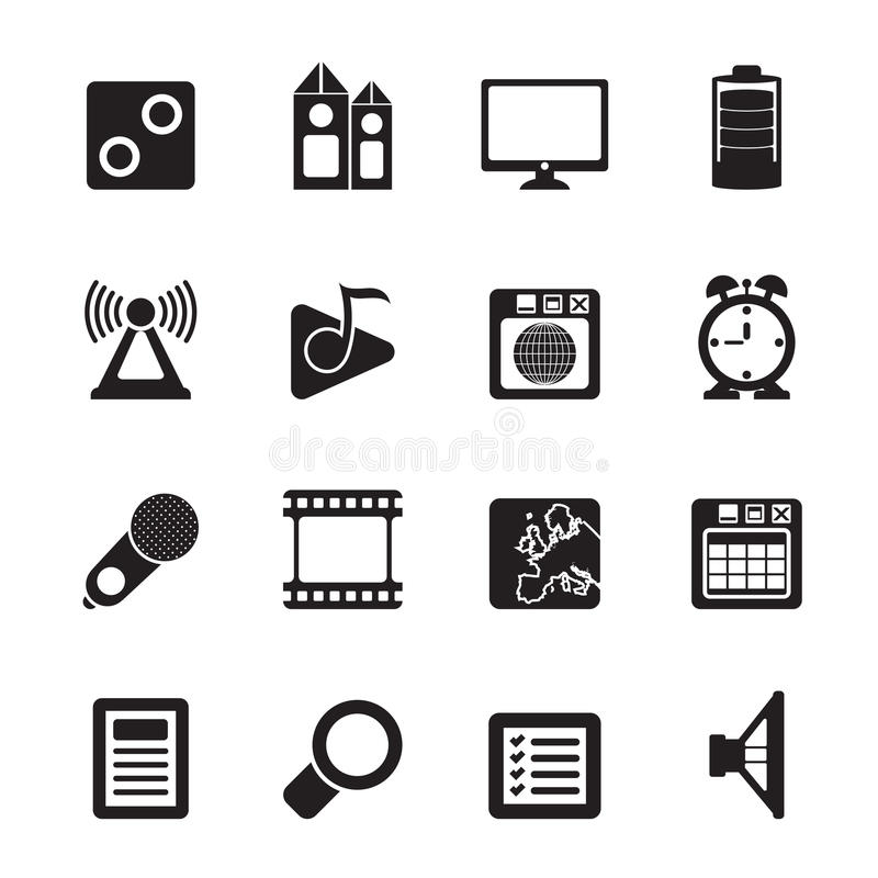 Silhouette Mobile phone performance, internet and office icons. Vector icon set stock illustration