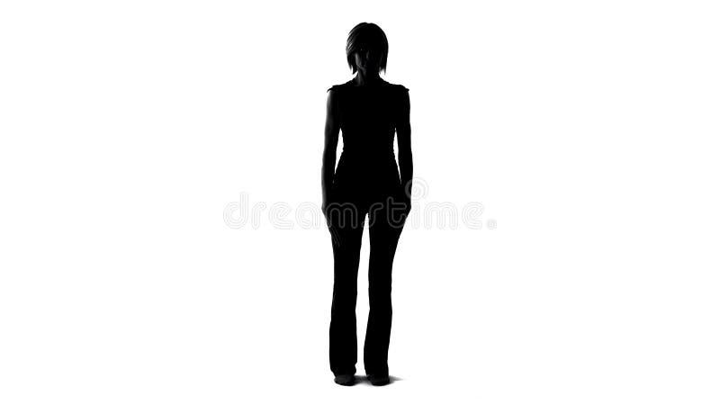 Silhouette modèle humaine femelle, développement des technologies moderne de robotique, avenir photo libre de droits