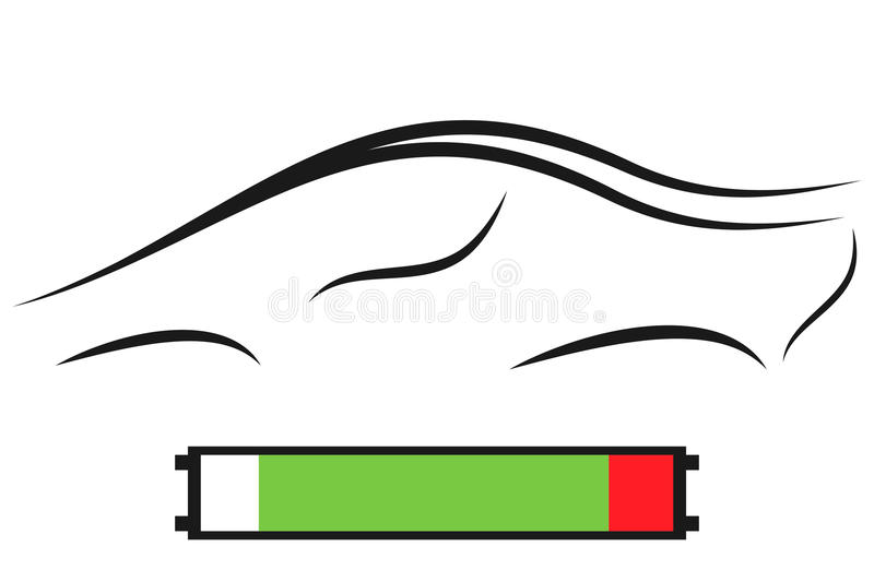 Silhouette of modern electric car and battery royalty free stock photo