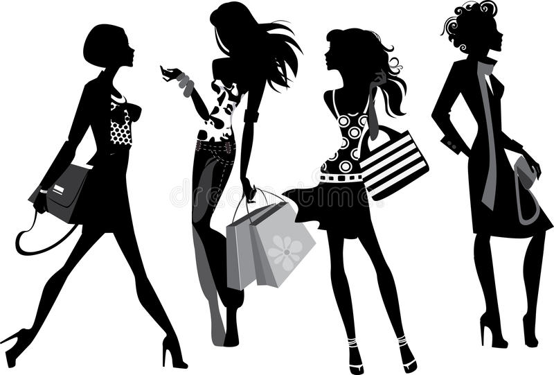 Silhouette of a modern women stock illustration