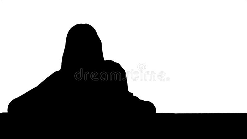 Silhouette Mom and kid boy painting together on table stock illustration