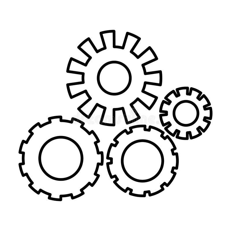 Silhouette monochrome avec l'ensemble de pignons illustration stock