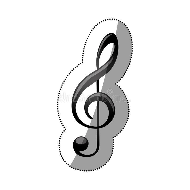 silhouette monochrome d'autocollant avec la clef triple de musique de signe illustration libre de droits