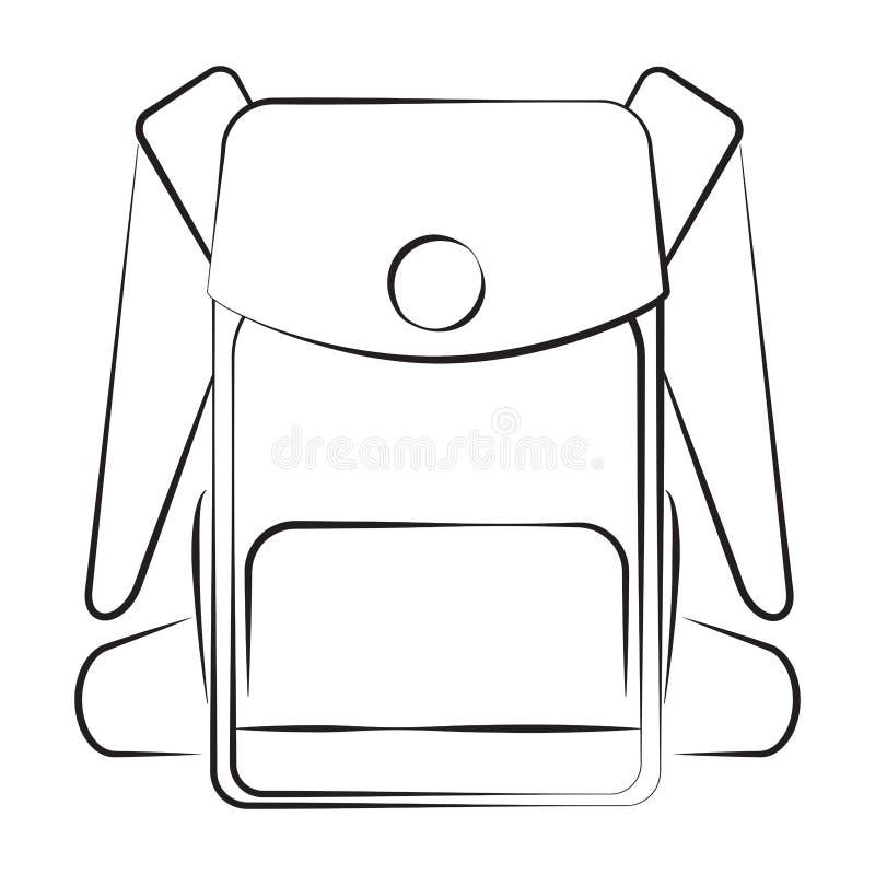 Silhouette monochrome d'icône de sac à dos image stock