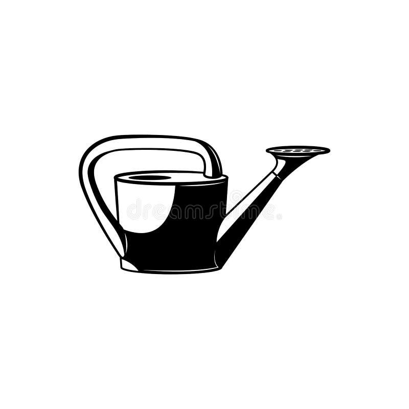 Silhouette monochrome de boîte d'arrosage - symbole noir et blanc du jardinage et de cultiver l'outil pour verser des usines illustration de vecteur