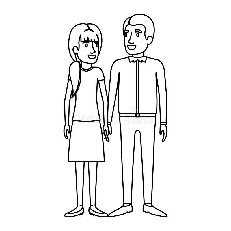 Silhouette monochrome de la position de l'homme et de femme et elle avec la queue de cheval et lui dans des vêtements sport illustration de vecteur