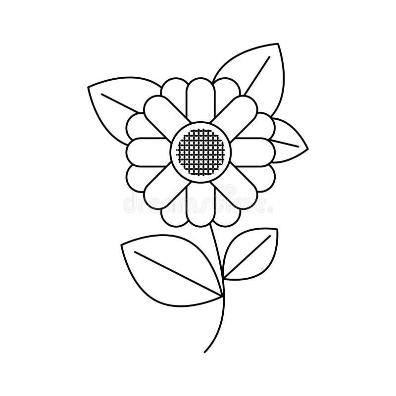 Silhouette monochrome de tournesol abstrait de tige et de feuilles en plan rapproché illustration de vecteur