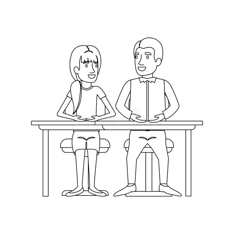 Silhouette monochrome de travail d'équipe de la femme et l'homme s'asseyant dans le bureau et elle avec la coiffure de queue de c illustration libre de droits