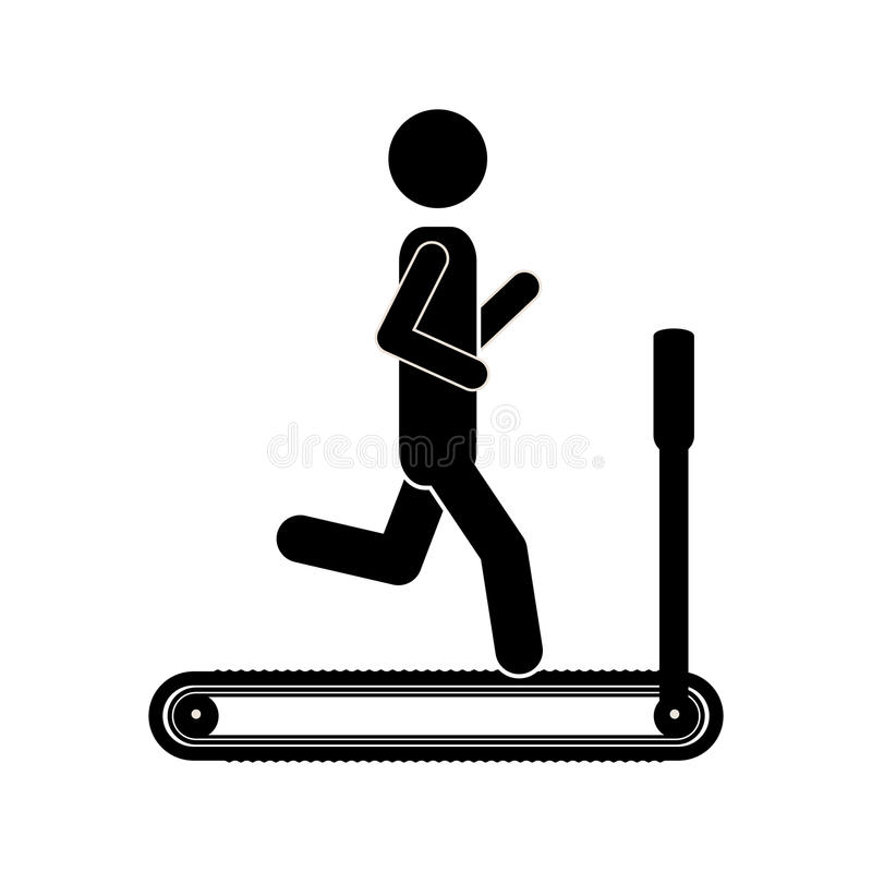 Silhouette monochrome with man in treadmill. Vector illustration royalty free illustration