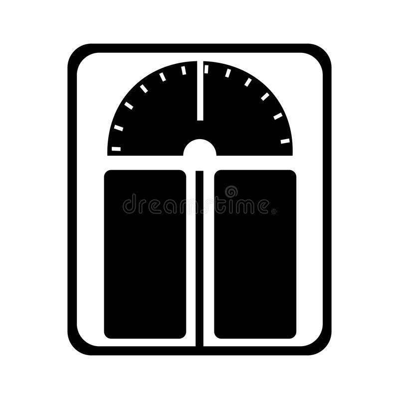 Monochrome Weighing Scale Silhouette  Isolated On White