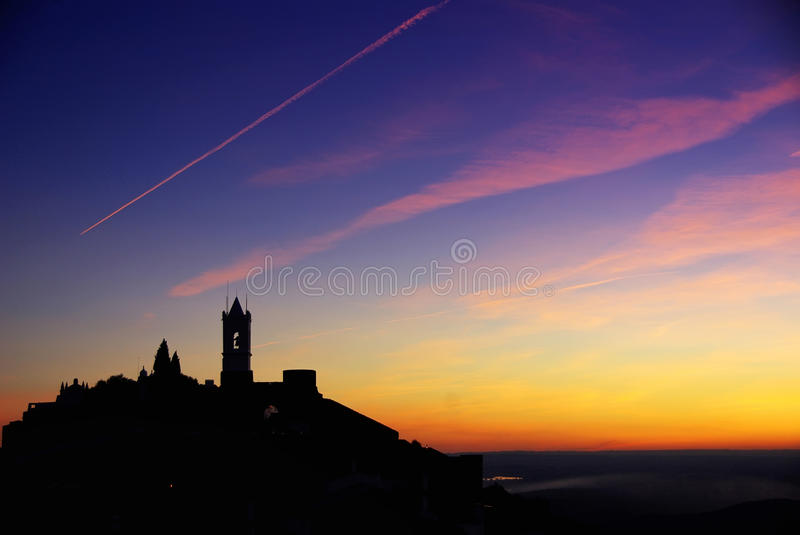 Download Silhouette Of Monsaraz Village. Stock Image - Image: 23309147