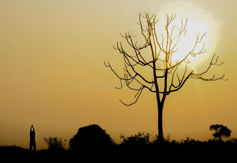 Silhouette of a morning on a hill stock photography
